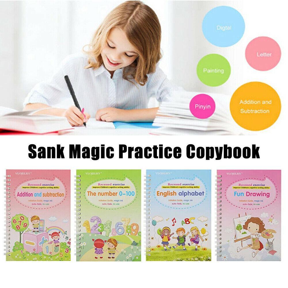 4 Livres Magic Coolbook Apprendre l'anglais Peinture Pratique Digital Livre Digital Notebook Calligraphie Outils de pratique peints à la main CPA5101