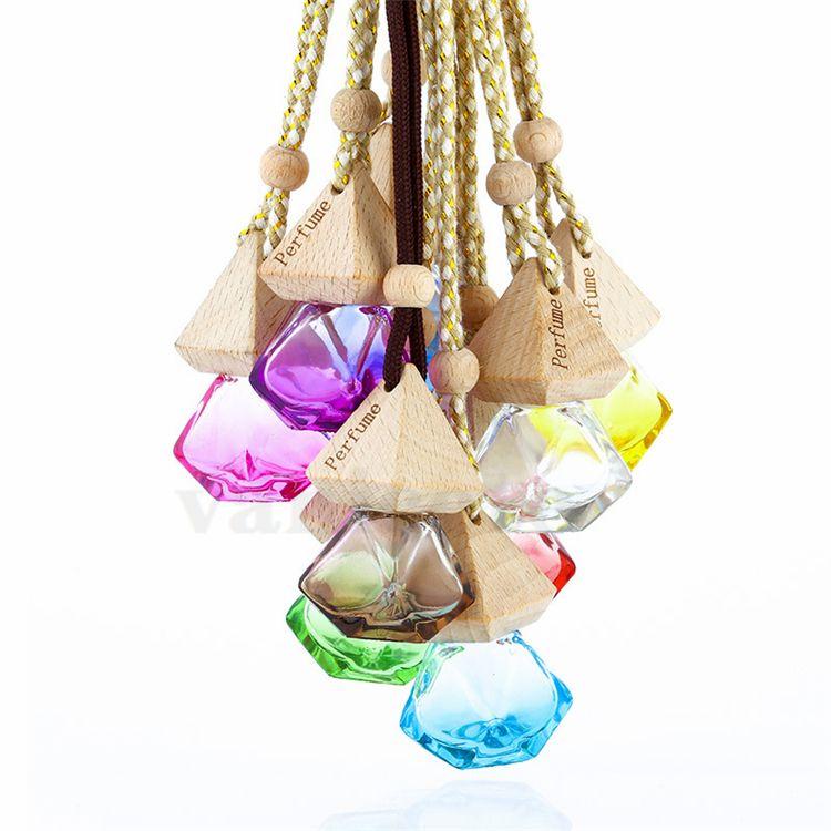 سيارة عطر زجاجة قلادة الضروري النفط الناشر 9 ألوان حقيبة الملابس الحلي الهواء المعطر قلادة فارغة زجاج زجاجة العطور ZC130