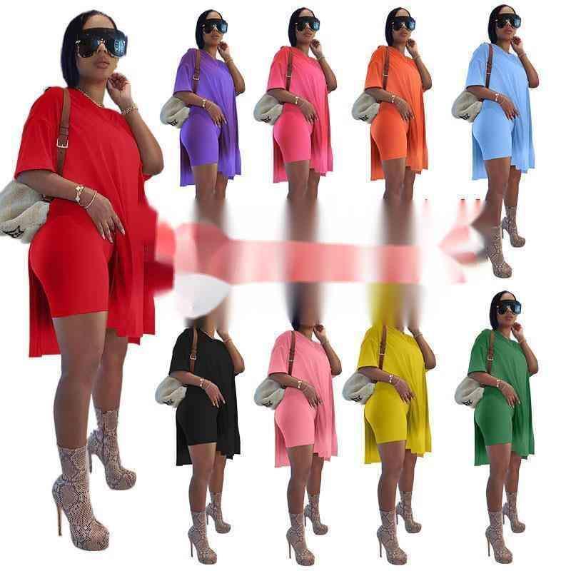 Frauen Mode Designer Kleidung Sommer Kurzarm Set Solide Medium Langes Split Kurzarm Shorts Zwei Stück Set