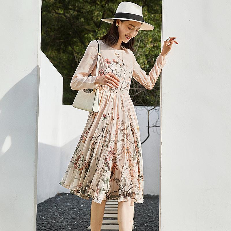 캐주얼 드레스 고품질 100 % 실크 드레스 여성 스타일 꽃 인쇄 O 넥 긴 소매 가벼운 패브릭 패션