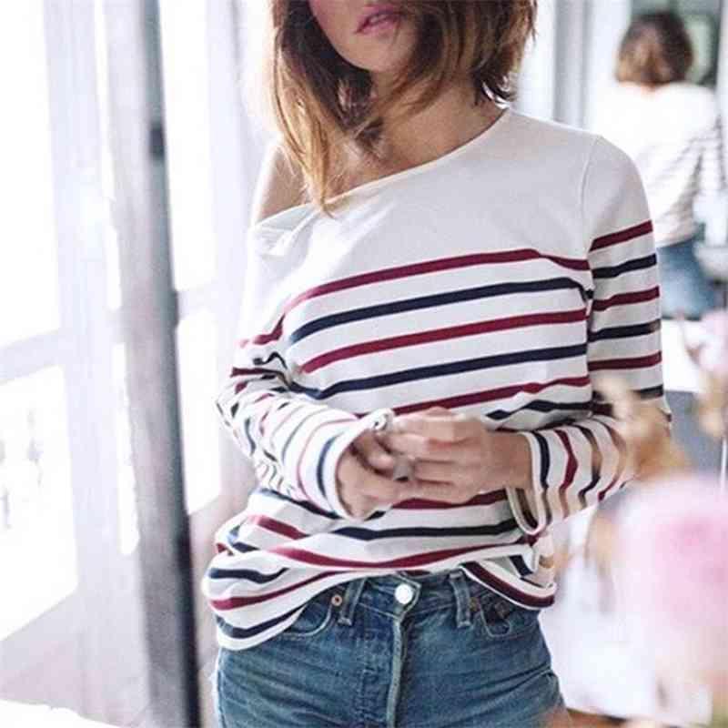 Loac listrado camisa mulheres manga comprida o pescoço Deixe o botão do ombro casual tees verão outono vintage camiseta streetwear 210322