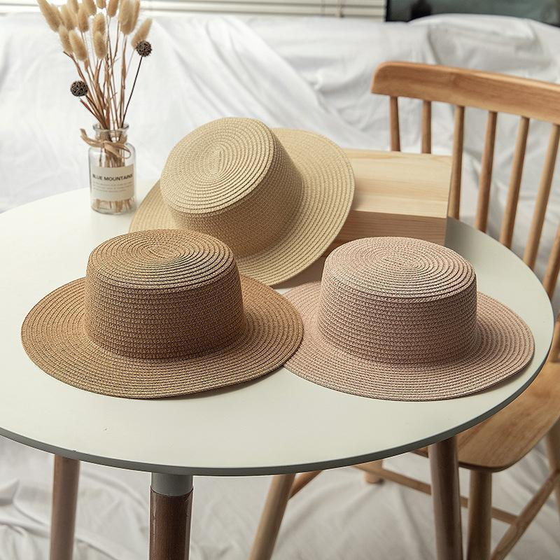 Seaside Capid-Child Summer Style Style Sun Sun Hat Bucket Beige Flat Straw Beach Panama Wide Brim Cappelli