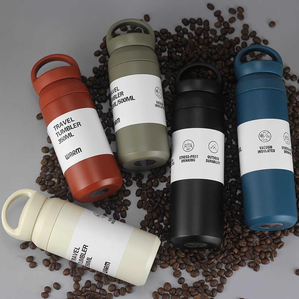 350/500 мл мода термос кофейной кружки чашка из нержавеющей стали тумблер вакуумная колба с водой бутылка для девочек женский офис туристический чай 210615