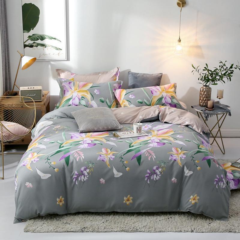 Conjuntos de cama Florescendo Flores Conjunto Flesholor Duvet Cover Fronha Casa Têxteis 2/3 Pcs Cama Rei Rei Queen Size Sinaiship