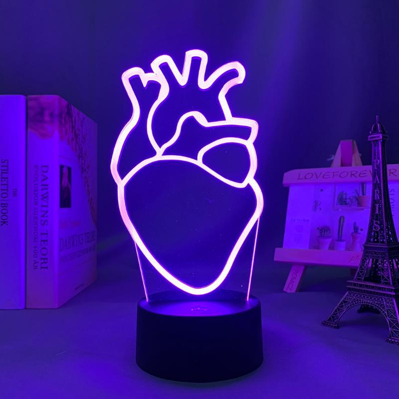 Night Lights Acrylic Led Light Heart PNL For Bedroom Decoration Color Changing Nightlight Fans Gift Room Decor QLF Coeurs 3d Lamp