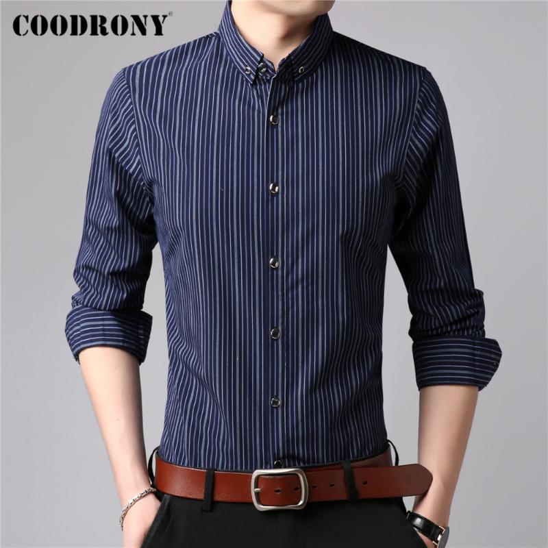브랜드 비즈니스 캐주얼 소셜 드레스 봄 가을 도착 클래식 스트라이프 코튼 긴 소매 슬림 맞는 셔츠 남자 C6168 남자 셔츠