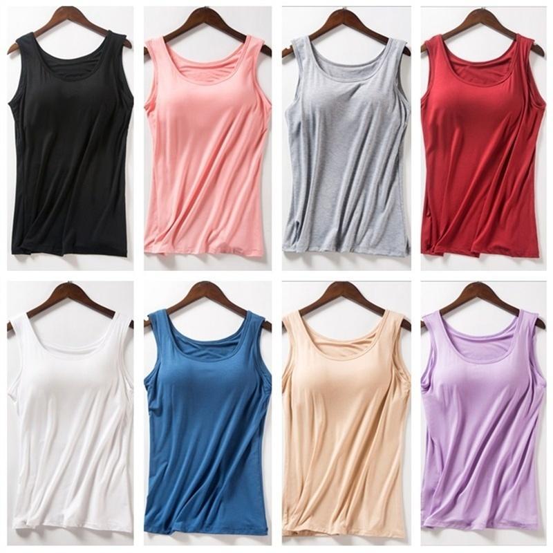 Camiseta de tanques de verano para mujer Camisa modal de ropa interior de tamaño grande Camiseta femenina Camisola Blusa construida en sujetador