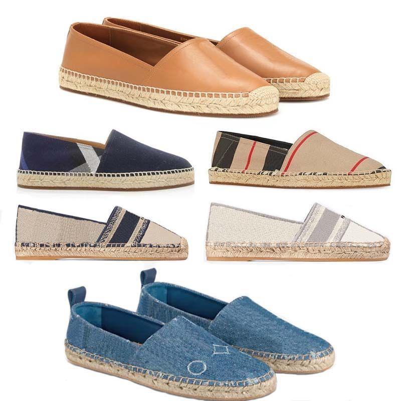 고전 로퍼 여성 Espadrilles 평면 신발 캔버스와 진짜 양가죽 두 톤 모자 발가락 패션 디자이너 신발 플랫폼 스니커즈 HM011 CH01