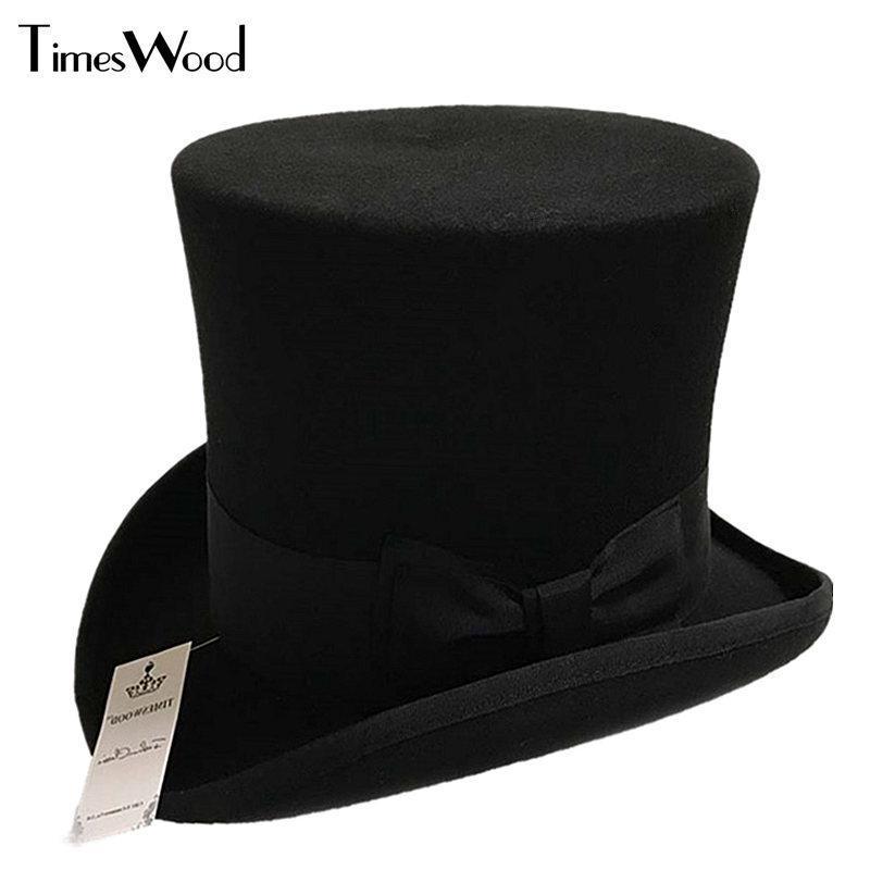 남성과 chapeau fedora 마술사를위한 18cm 블랙 레드 그레이 높은 양모 탑 모자 빈티지 파티 모자 s m l xl wide brim을 느꼈다