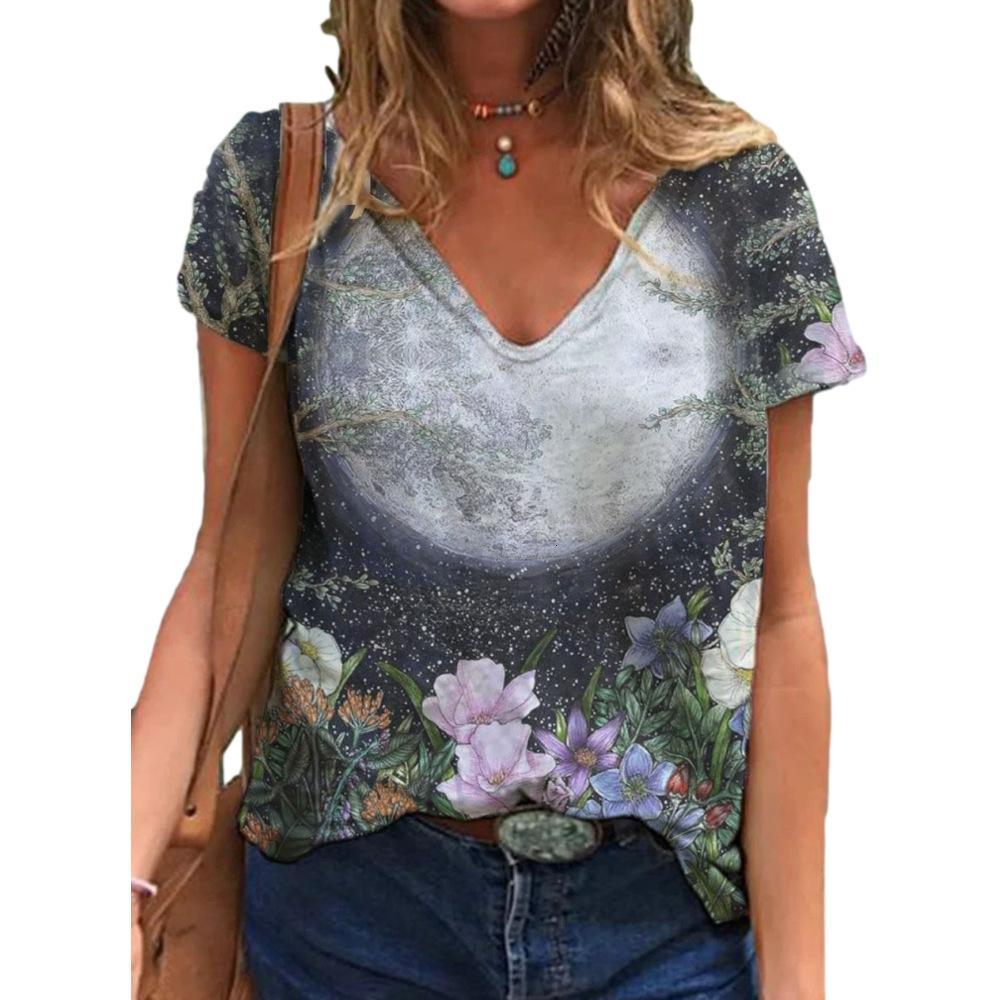 Camiseta Planta de mujer Flor Star Sky Print V-NE Nequilla Casual Camiseta casual en primavera y verano 2021