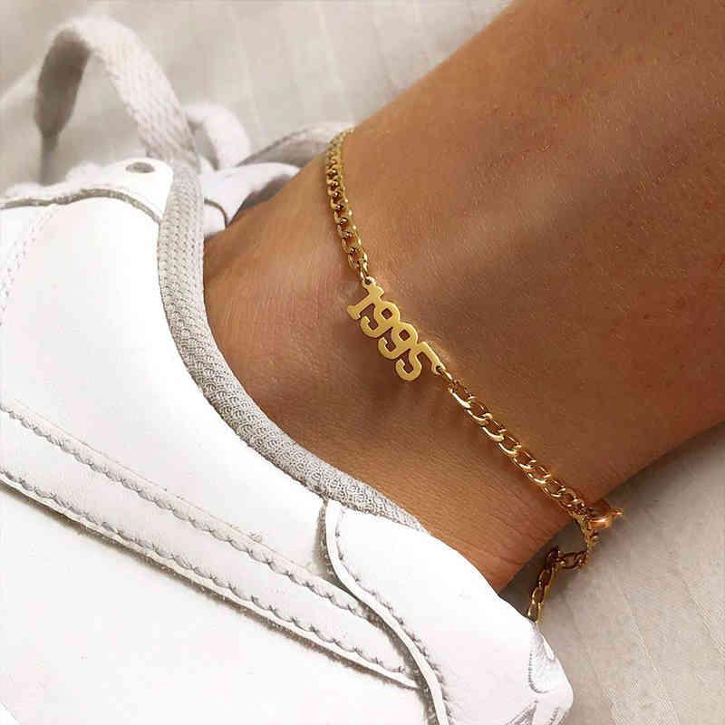 1980-1998 Anno di nascita Anklet Gamba Braccialetto Braccialetto Gioielli in acciaio inox oro rosa oro colore custom numero cavigliera per le donne regali