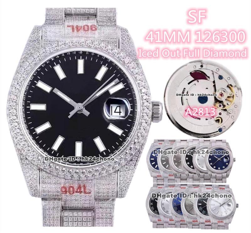 13 estilos Relojes de lujo 41mm Fecha 126300 Iced Out Diamantes completos A2813 Reloj automático para hombre Sapphire Crystal Diamond Bracelet Gents WristWatches