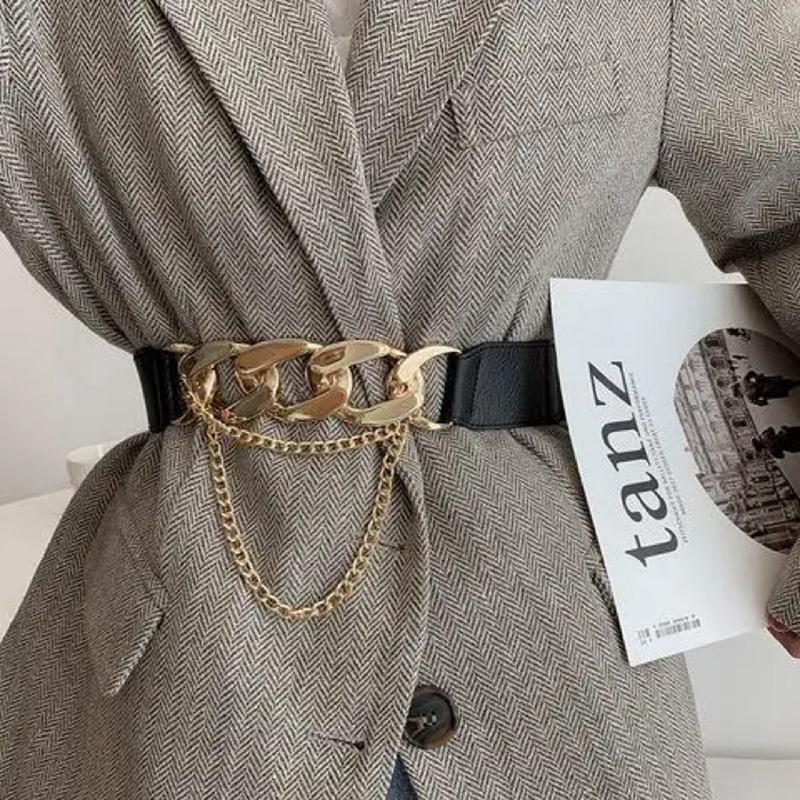 Mujeres Goldada Cinturón de cadena de cuero de cuero de cintura de metal de alta calidad PU Cummerbunds vestido de vestir Sweater Lady Designer Cinturones