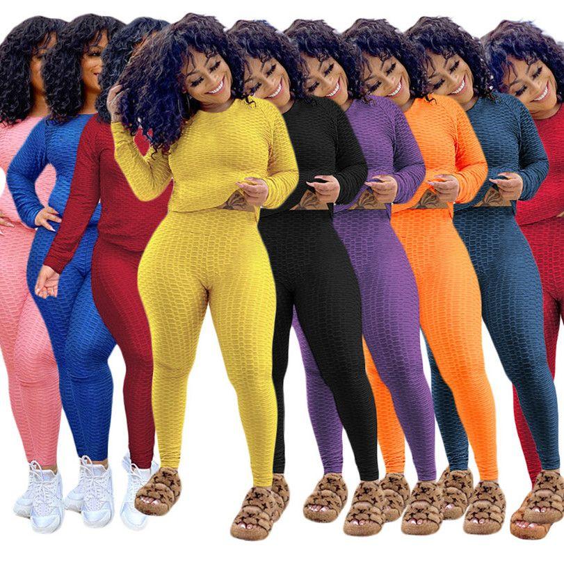 النساء رياضية الصلبة اللون قطعتين مجموعة اليوغا هوديس السراويل سهلة السترة طماق الرياضية الخريف الشتاء عارضة ملابس البلوزات 4281