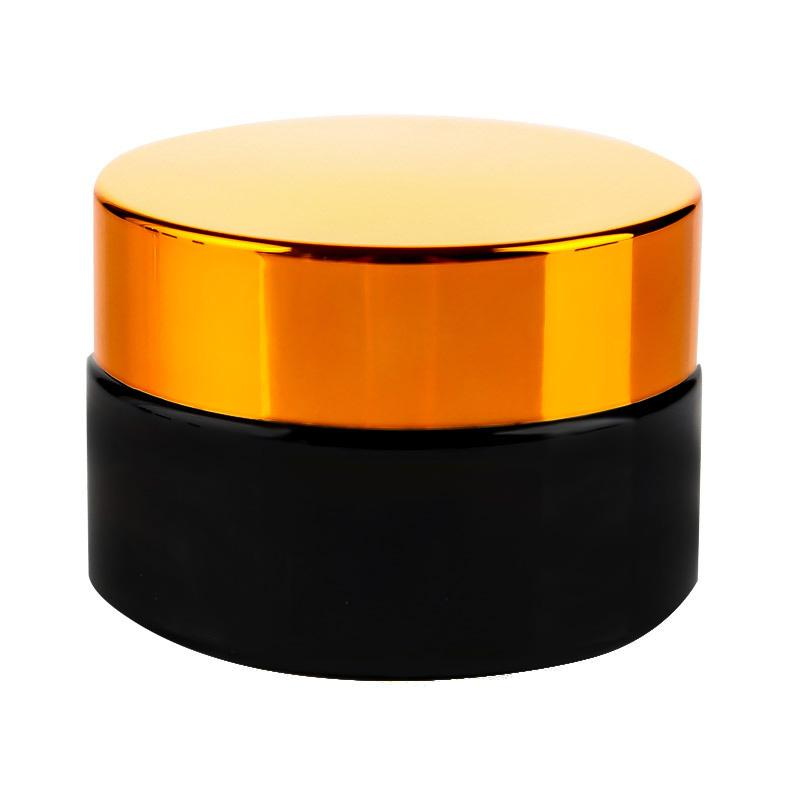 Black frosted glass jars cosmetic jars with Bronze Goldplastic lids PP liner 5g 10g 15g 20g 30 50g lip balm cream containers EEB5785