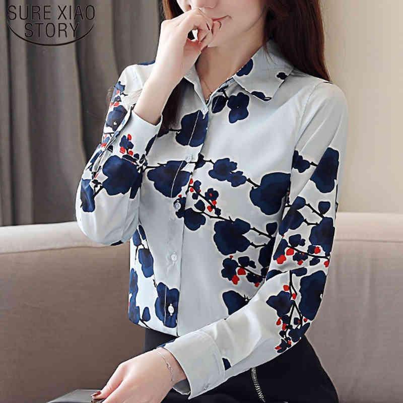 Koreanische Druck plus Größe Frauen Tops und Blusen Mode Frühling Langarm Blusas Mujer de Moda Damen Hemden 8339 50 210512