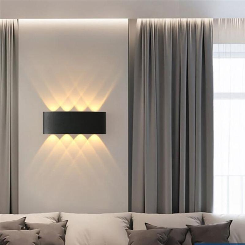 실내 옥외 방수 곡선 LED 벽 램프 더블 가이드 라이트 아크 가정용 조명기구 침실 통로 파티오 램프