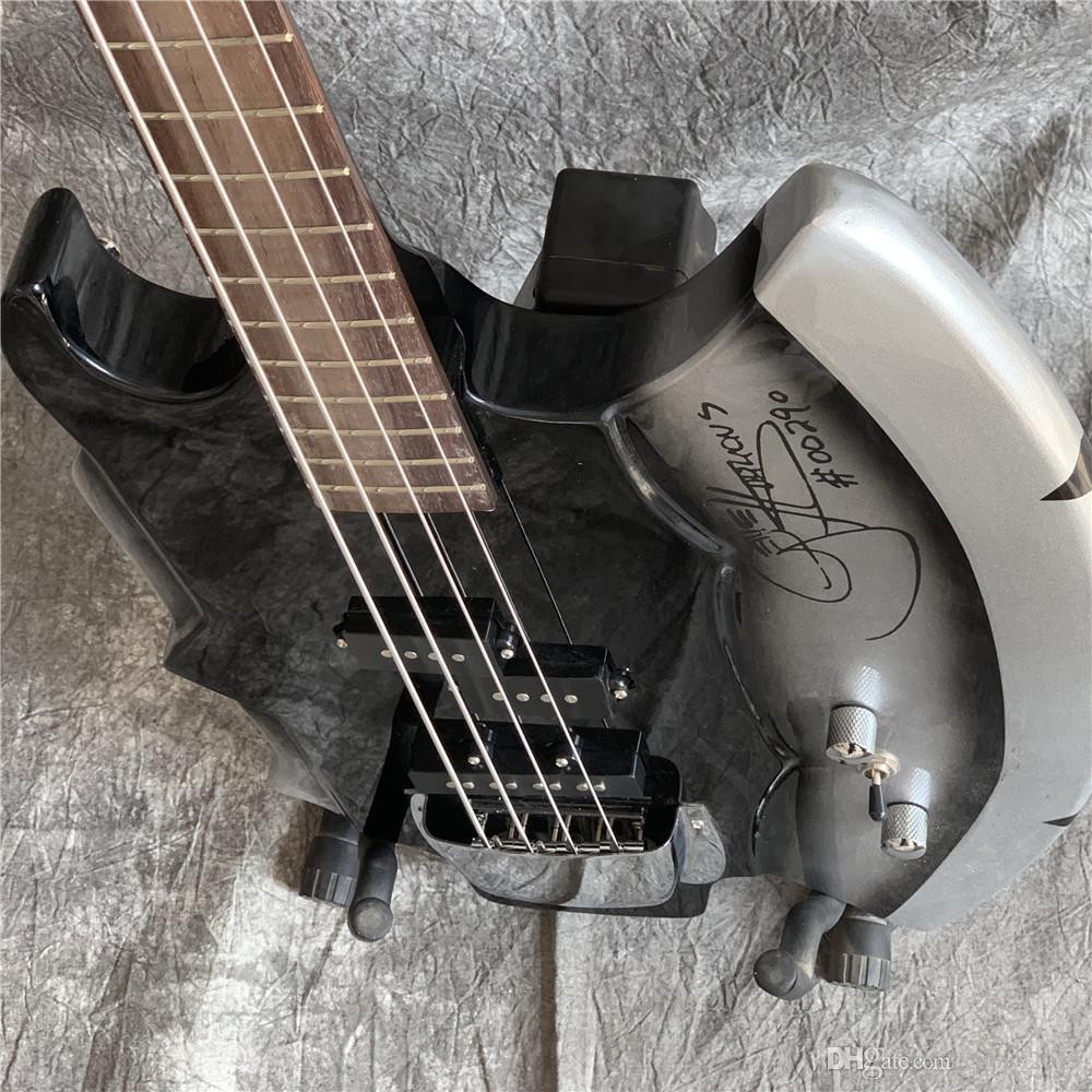 4 corde Gene Simmons Ax Signature Black Electric Bass Guitar Forma irregolare Guitars China, Basss su misura a mano
