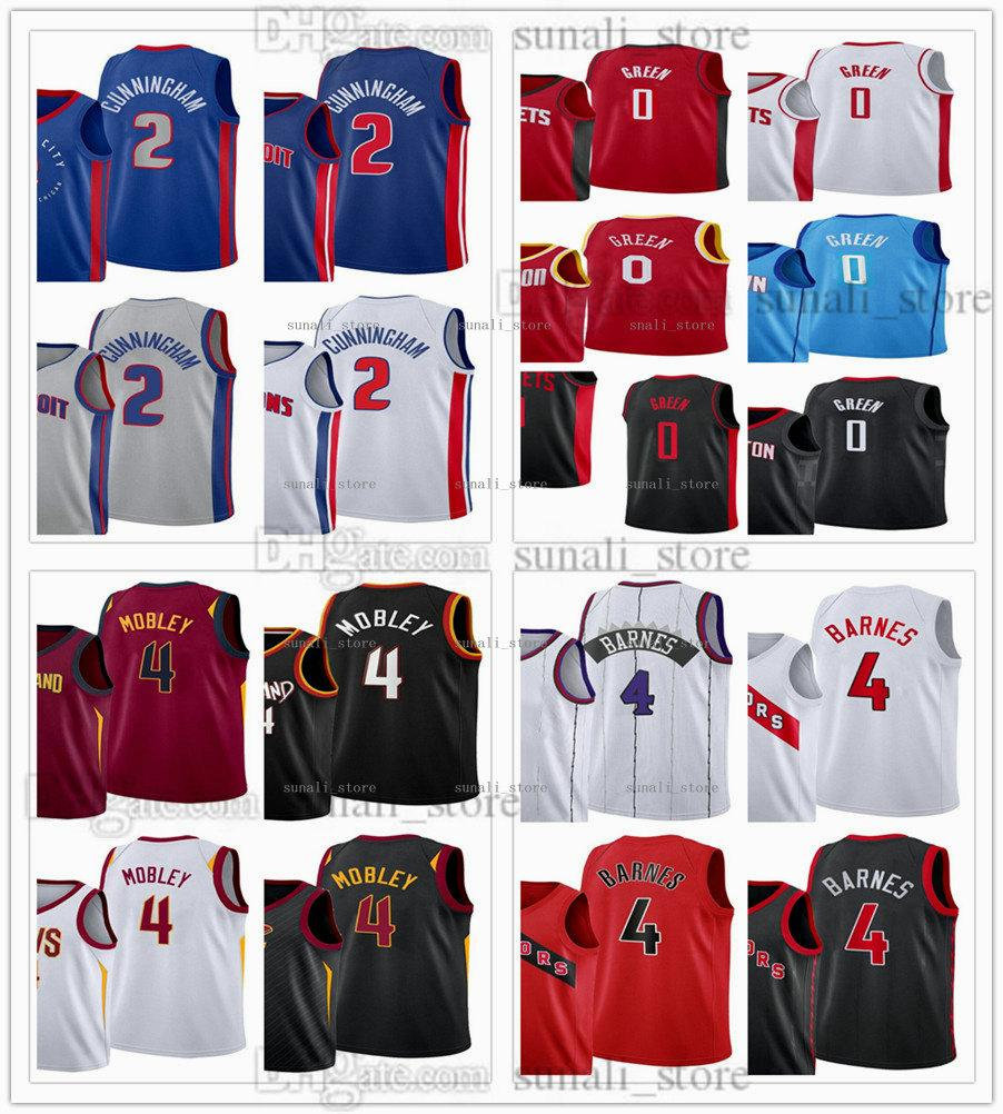 2021 Draft Pick Pallacanestro Maglie 2 Cade Cunningham 4 Evan Mobley 0 Jalen Green Scottie Barnes Camicie Blu bianco grigio rosso nero uomini donne bambini gioventù veloce