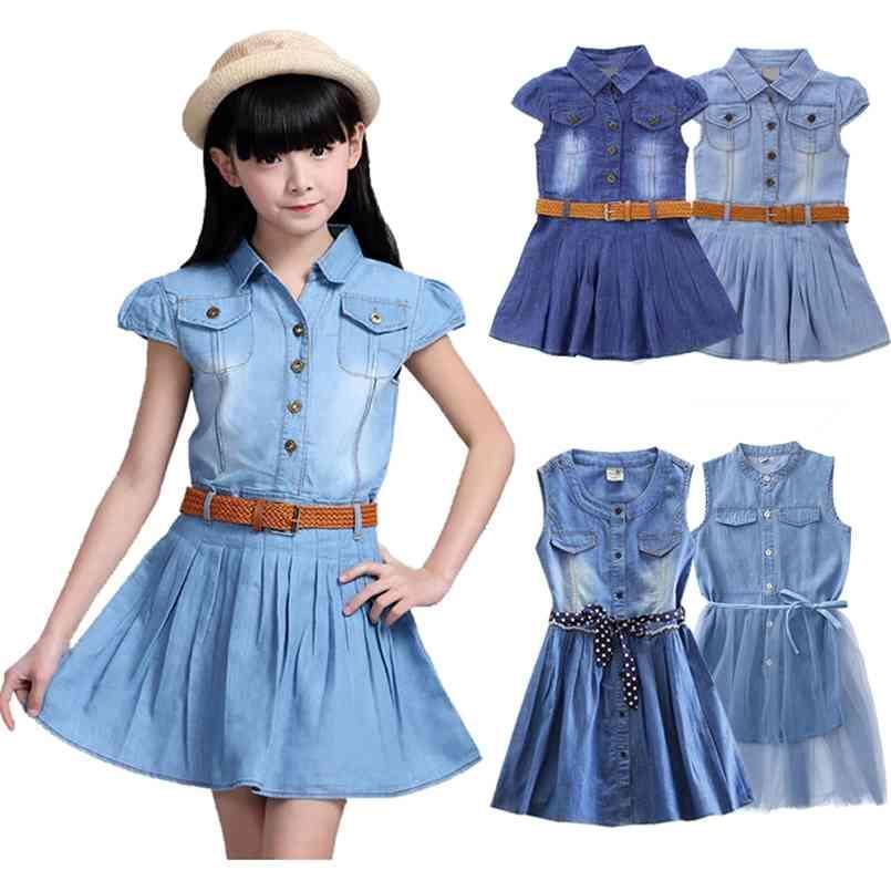 Gençler için Kovboy Elbise Kız Çocuklar Çocuklar Denim Yaz Vestidos Giyim 4 5 6 7 8 9 10 11 12 14 yaşında 210730