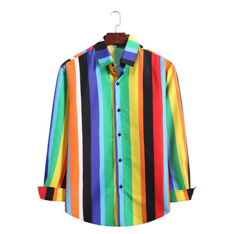 Gestreiftes Hemd Herren Langarm Mode Große Größe Trend Regenbogen Farben Hemden Männer Casual