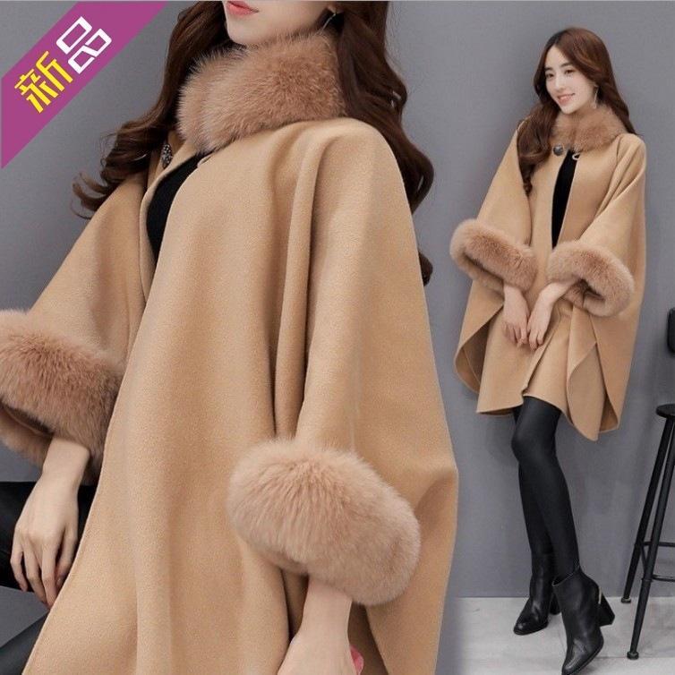 Nuevo Cuello de pelo coreano Cuello de pelo Longitud media Abrigo de lana Temperamento Cape Mantón Tweed Mujer