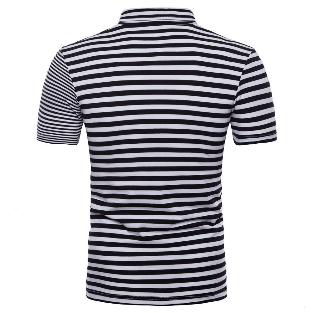 Erkek Polos E-Baihui Erkekler Polo Gömlek Yaz Iş Rahat Beyaz Siyah Çizgili Kısa Kollu Saf İş CL P792