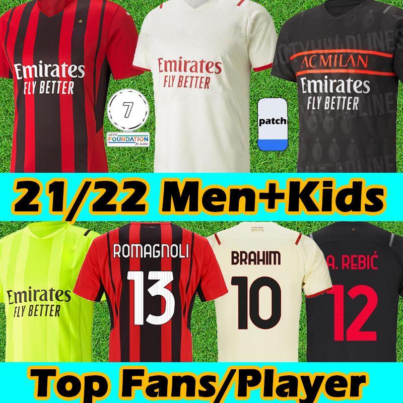 21/22 AC Futbol Formaları Fanlar Oyuncu Sürümü Milan Balr 2021 2022 Ibrahimovic Tonali M.Maignan Rebic Theo Çalhanoğlu Jersey Erkekler Çocuk Kitleri Futbol Gömlek Tayland