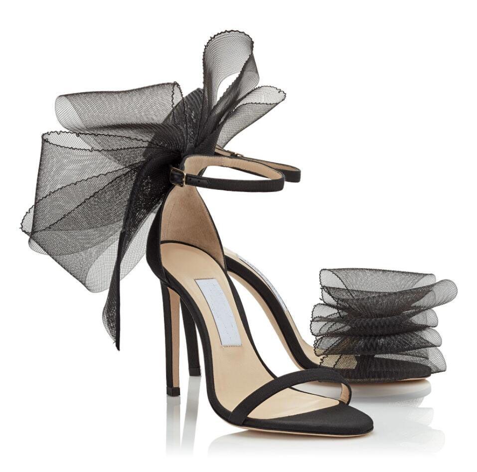 절묘한 AVELELE 여성 샌들 메쉬 활 Stiletto 발 뒤꿈치 발목 스트랩 Birdals 파티 드레스 우아한 레이디 펌프 블랙 화이트 레드 EU35-43