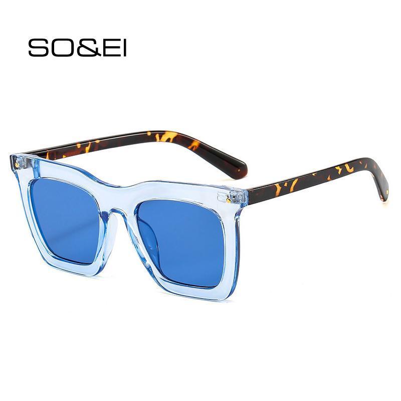 Soei Retro Square Sunglasses Mulheres Marca Designer Moda Leopardo Gradiente Eyewear Shades UV400 Homens Flat Top Sun Óculos