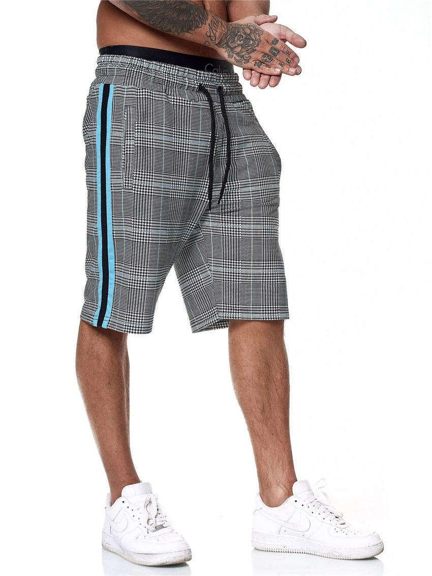 Plaid Designer Mens Mild Taille Slim Fitness Homme Shorts Casual Plage Travel Male Pantalon court