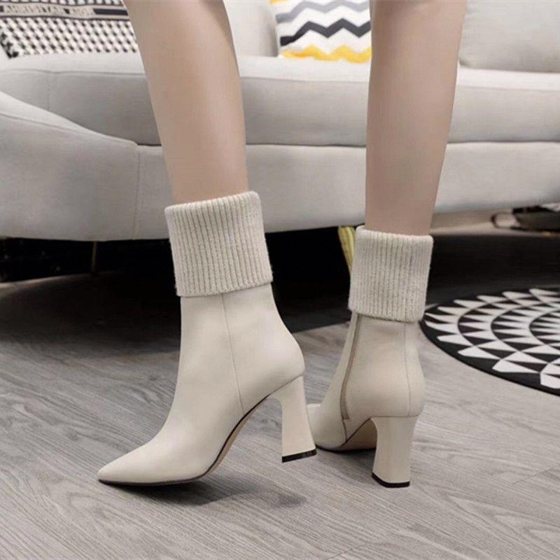 Design di moda Design Lady Boots Stivali in pelle con tacco alto Splicing Generoso lusso elegante
