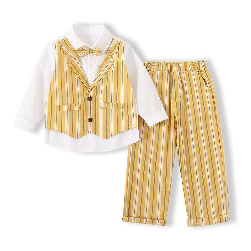 Kimocat 소년 신사 정장 봄, 스트라이프 가짜 조끼 긴팔 셔츠 + 나비 넥타이 바지, 어린이 파티 의류 3-6 y 세트
