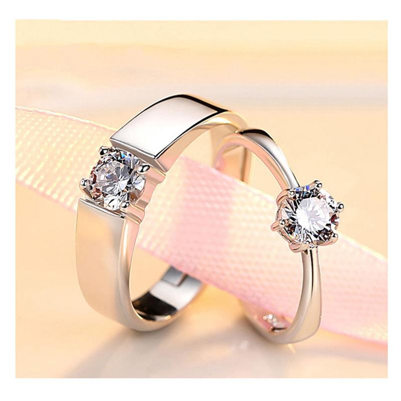 Dropship J152 S925 Sterling Silver Couple Rings with Diamond Fashion Simple Zircon Pair Ring Jewelry Valentine's Day Gift
