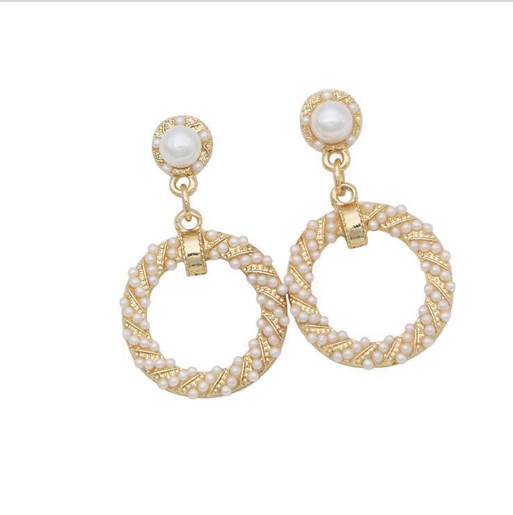 Femmes Stud Dangle Boucles d'oreilles Fashion Pearl Cercle carré Charme Boucle d'oreille Bijoux