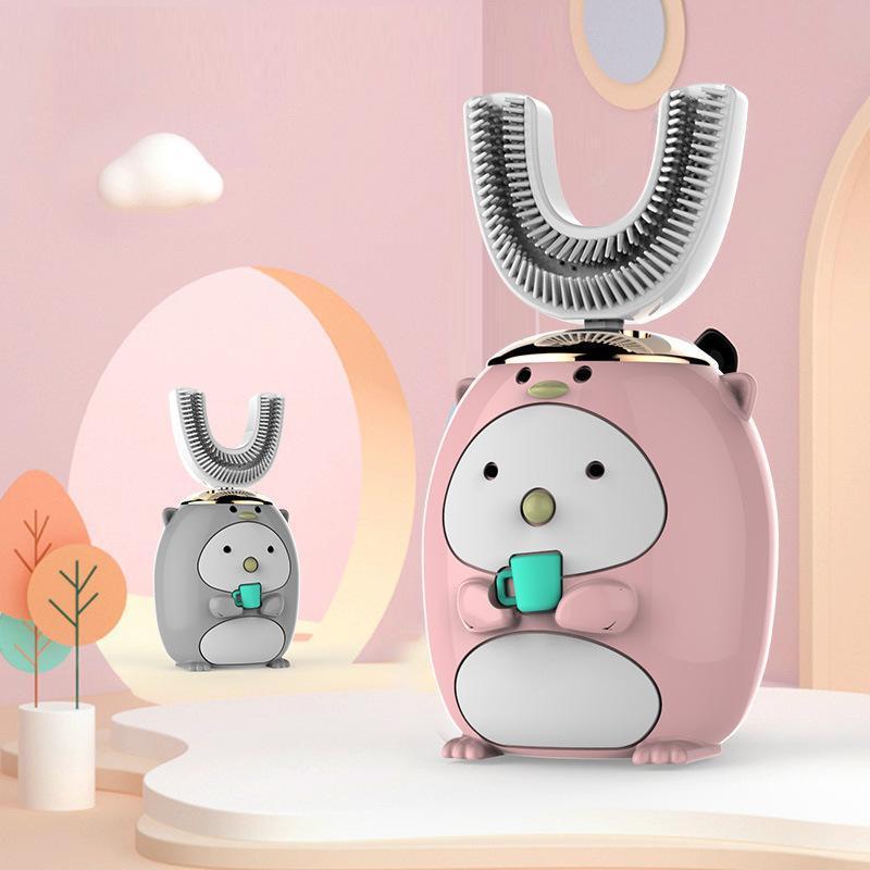 فرشاة أسنان كهربائية للأطفال قابلة للشحن ماء كامل التلقائي على شكل حرف U سونيك فرشاة الفم قطعة أثرية الذكية