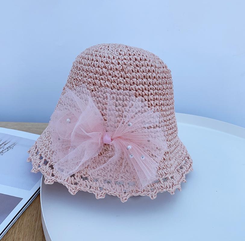 아이들을위한 접이식 여름 밀 짚 모자 레이스 꽃 태양 아이 UV 보호 파나마 해변 여자 소년 모자 모자