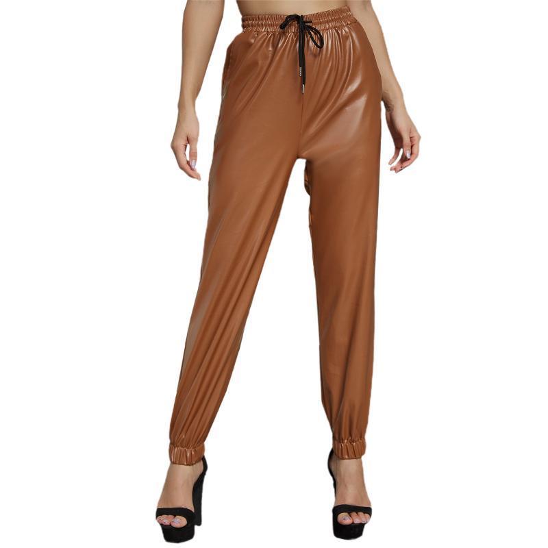 Mulheres de cor sólida, adultos Cintura alta PU Calças amarradas de couro com cordão Capris