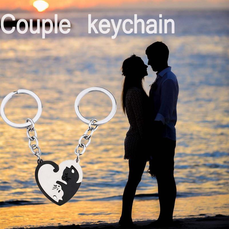 Schlüsselanhänger 2021 Mode Edelstahl Kreative Keychain Herzförmige Katze Nähte Paar Gedenken Schmuck Junge Geschenk Schlüsselanhänger