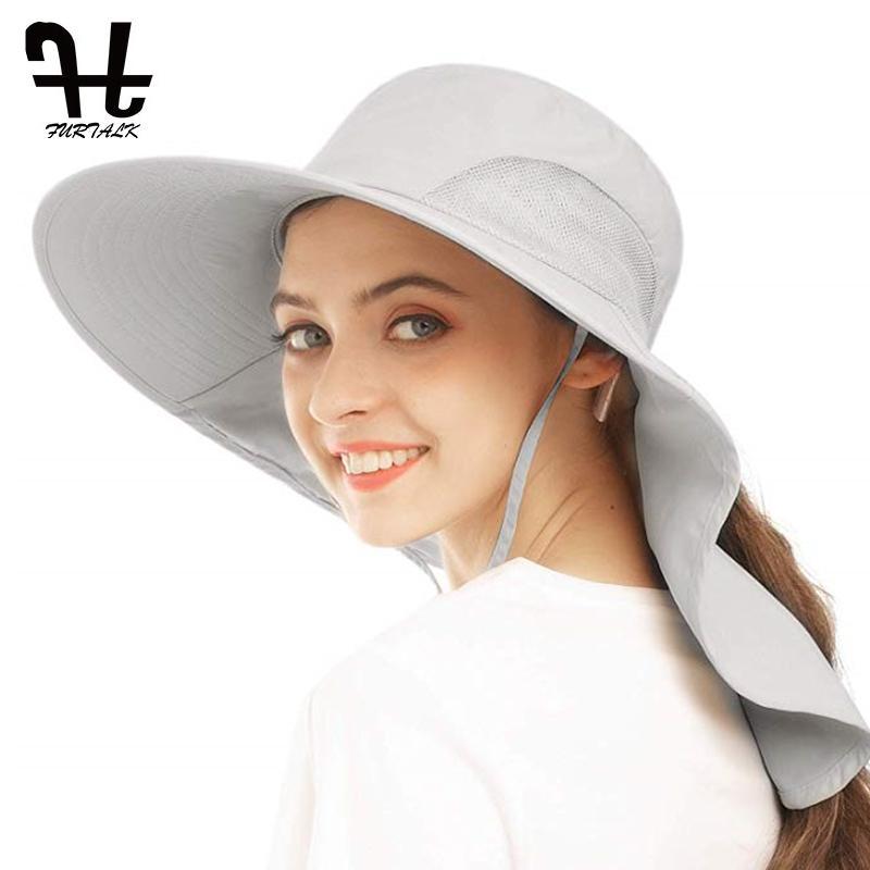 Furtalk قبعة الشمس للنساء الصيف ذيل حصان سفاري القبعات مع الرقبة رفرف واسعة بريم تنفس حماية الشمس الصيد المشي قبعة 210323