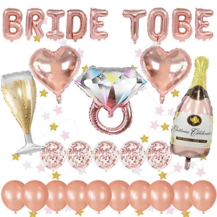1 Set Bride pour être Foiler Ballon Rose Gold Theme Party Ballon Confetti Ballons en latex Bachelorette Décoration de mariage Fournitures 210626
