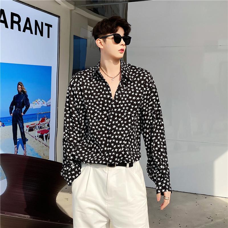 인쇄 기계 느슨한 셔츠 봄 가을 깃털 슬림 블랙 셔츠 망 패션 빈티지 버튼 chemise homme eg50sh 남자의 캐주얼