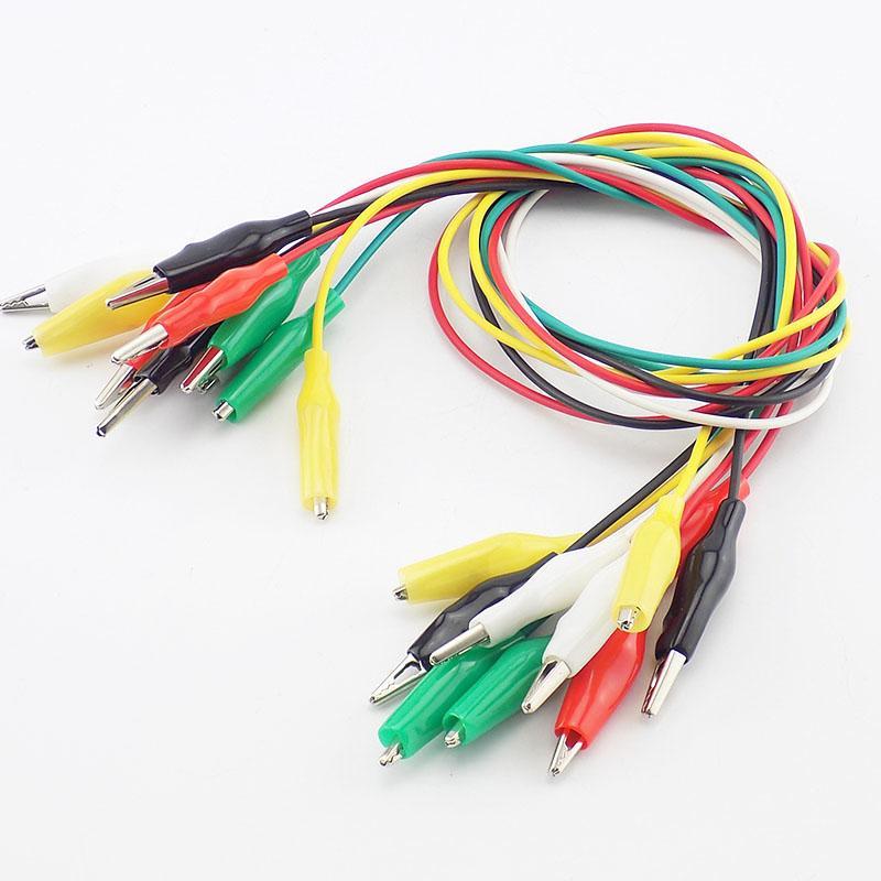 BNC 커넥터 더블 엔드 악어 DIY 악어 클립 전기 점퍼 리드 와이어 Roach 클립 테스트 색상 5 개