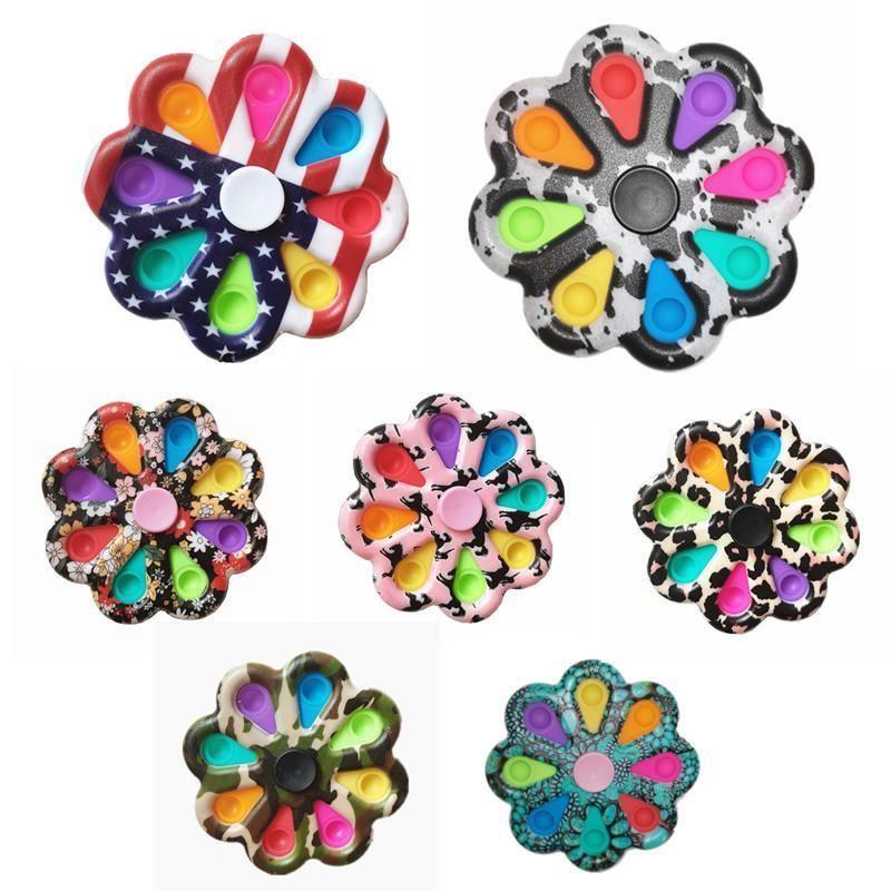 Bubble Цветочная доска сенсорный Fidget Spinners Игрушка подсолнечника Форма Pushbles Пузырьки вдавливающие пластины Декомпрессионные игрушки пальца пальца