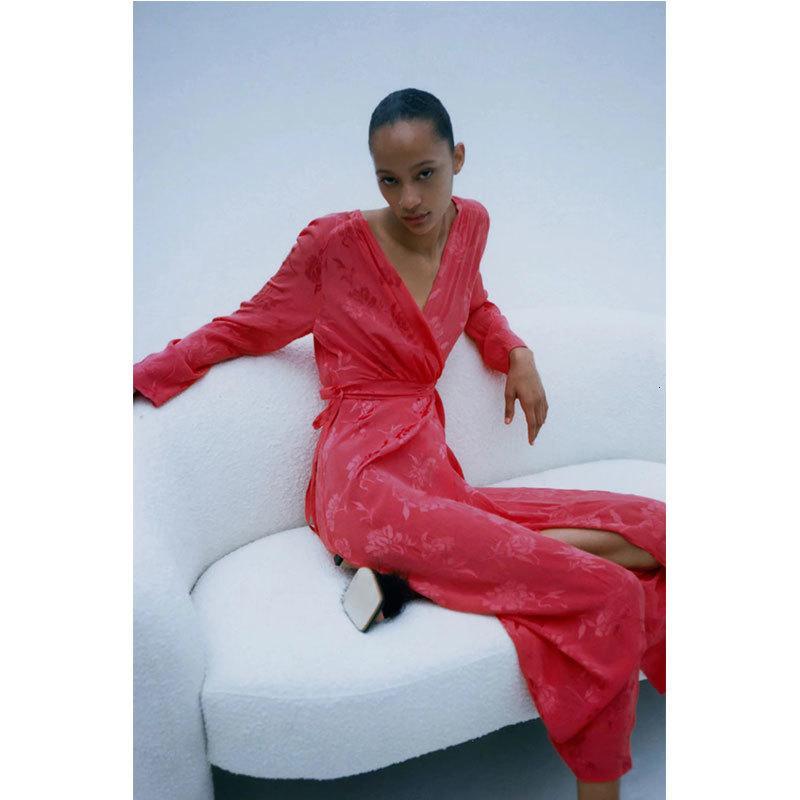 Casual Dresses Nlzgmsj za chique moda feminina com cinto jacquard wrap midi vestido vintage v neck puff manga vestidos femininos 08 WIYE