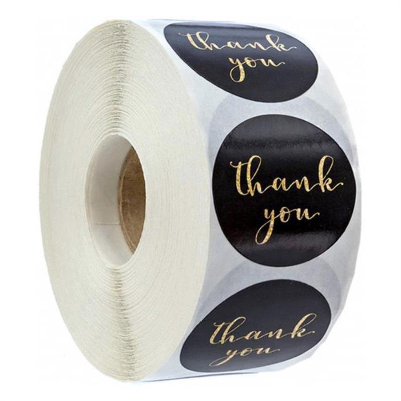 Adesivi di etichetta di carta rosa Gold Grazie Sticker Scrapbooking 500pcs per carta regalo di nozze Business Packaging Cancelleria Adesivo GGA4301