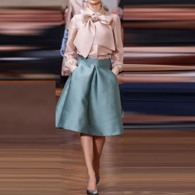 Elegantes sáteres cortos para mujer Rits Taille Kneeling Height Midi para las señoras Ladies Plooi de alta calidad ROK Custom Saias2VSH