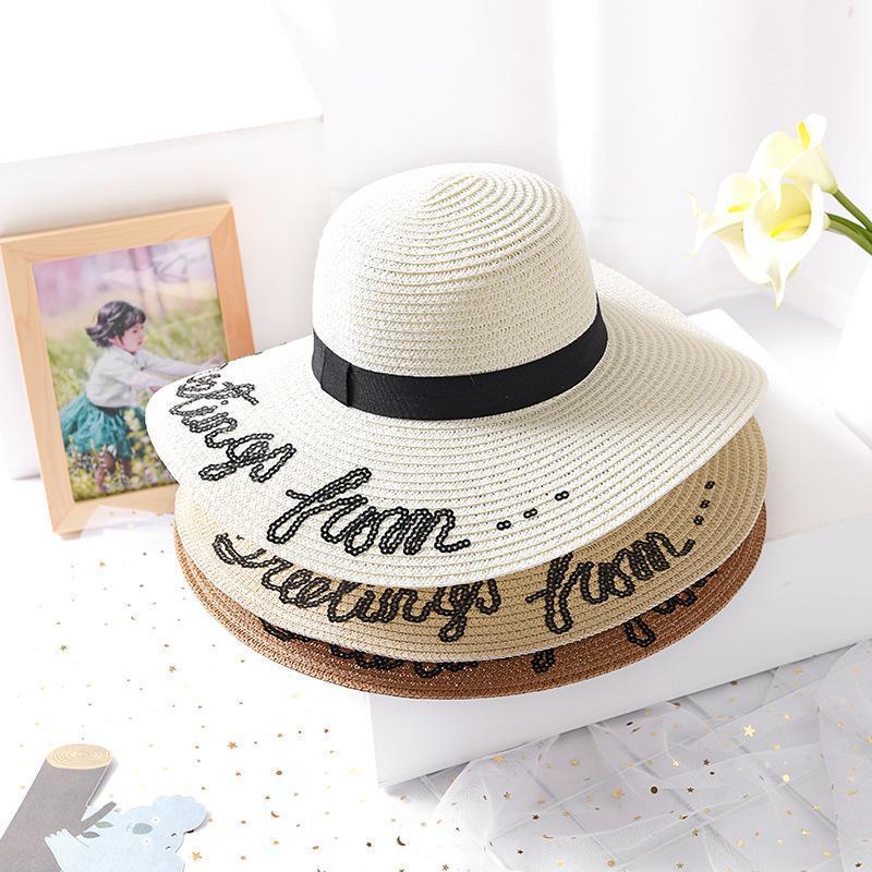 Nuova estate non disturbare la lettera di paillettes con cappelli del sole del corn per le donne Beach Beach Fashion Girls Paglia Cappello