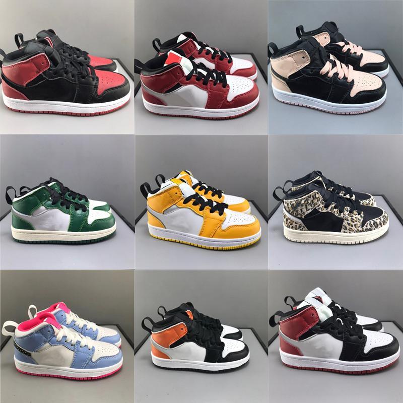 Bebekler Toddler Basketbol Ayakkabı 1 S Çocuk Saten Siyah Toe Çam Yeşil Sneaker Yasaklanmış Chicago Crimson Tence Yarım Mavi Sneakers Erkek Kız Lakers Üçlü Beyaz Çocuk Ayakkabı