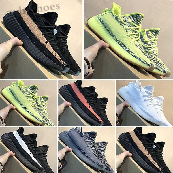 Adidas Yeezy BOOST 350 V2 Kanye West 2021 Tereyağı Susam 35 V2 Statik Erkek Ayakkabı Sneakers Mavi Renk Tonu Üçlü Beyaz Bayan Zebre Bred Eğitmenler Boyutu36-45 PR08